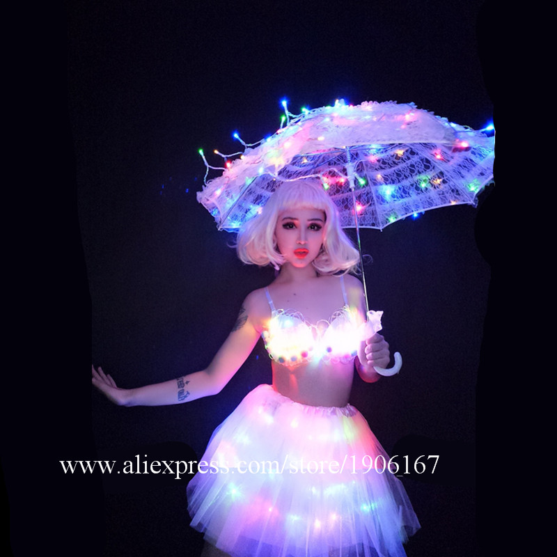 White Valentine\'s Day LED luminous wedding design gogo female songs ds hundred DJ suit costumes07