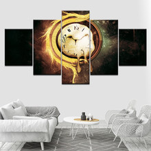 Brandende zakhorloge 5 stuk HD Wallpapers Art Doek moderne Poster Modulaire art schilderen voor woonkamer Home Decor(China)