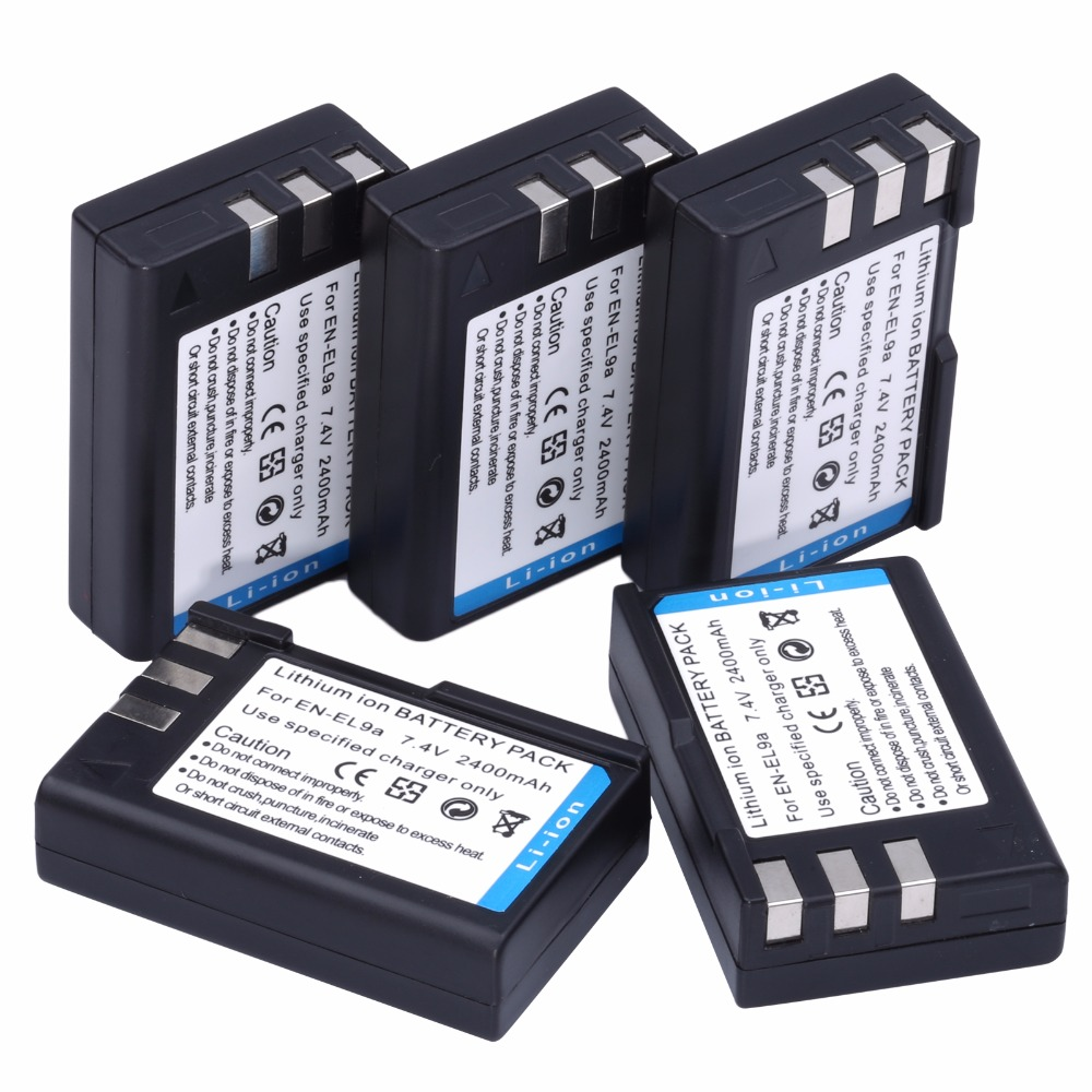 HIBTY 5 pièces EN-EL9 EN EL9 ENEL9 Caméra Batterie Rechargeable pour Nikon D40 D40x D60 D3X D3000 D5000 Livraison Gratuite
