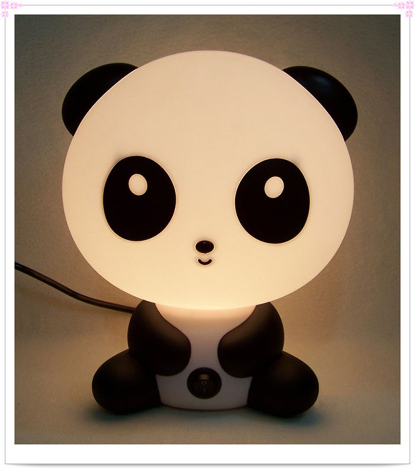 Cute baby room night light panda cartoon kids sleeping bed for Kids room night light