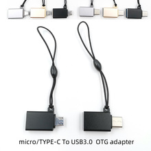 2PCS/lot Android Type-C Micro TO usb3.0 OTG adapter Aluminum alloy shell connector Hanging rope to prevent loss