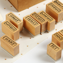цена на 14 pcs/set Vintage Week series wood stamp decoration wooden rubber stamps for scrapbooking stationery DIY craft standard stamp
