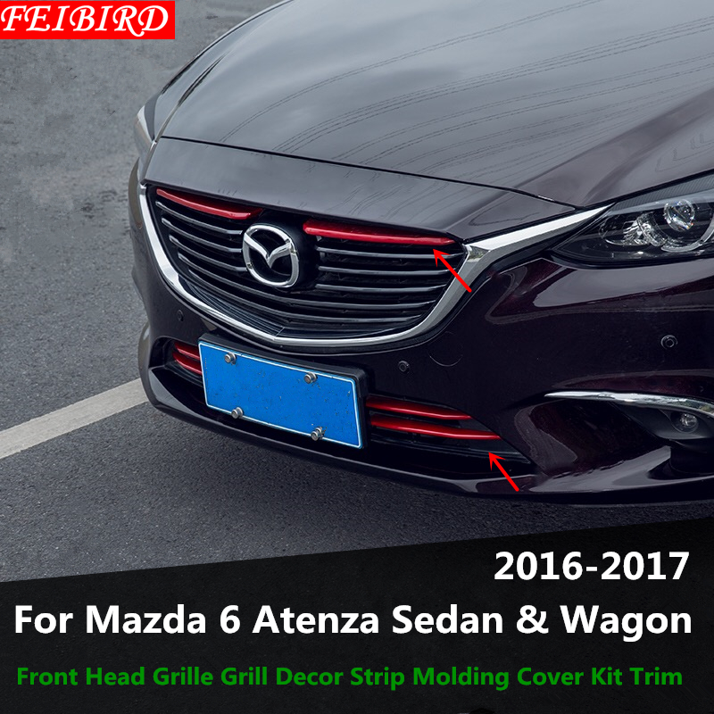 ABS Front Head Grille Grill Decor Strip Molding Cover Kit Trim Accessories For Mazda 6 Atenza