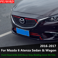 ABS Front Head Grille Grill Decor Strip Molding Cover Kit Trim Accessories For Mazda 6 Atenza Sedan & Wagon 2016 2017 Only