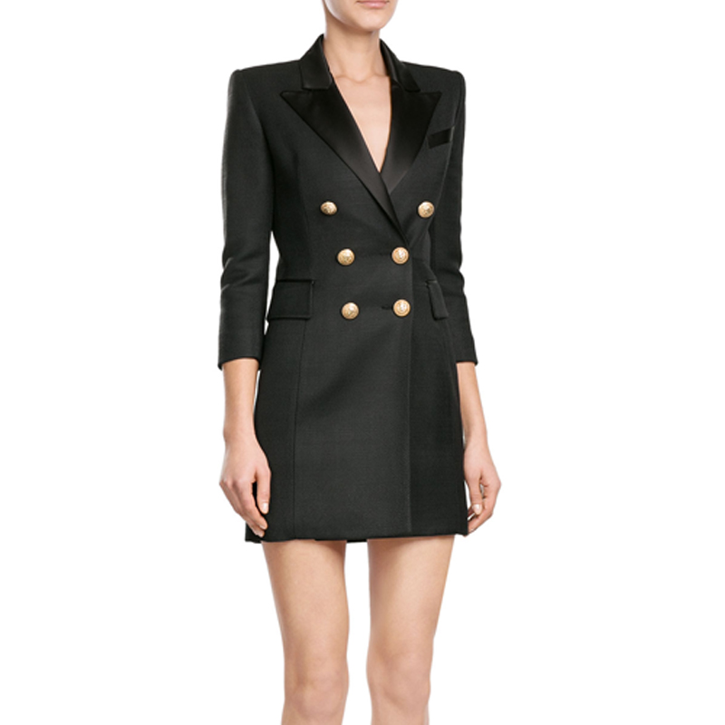 Double Outwear Long 2018 Breasted Automne Costume Bureau Manches Femmes Blazer Longues D'or Blazers Noir Veste xPW4znwa