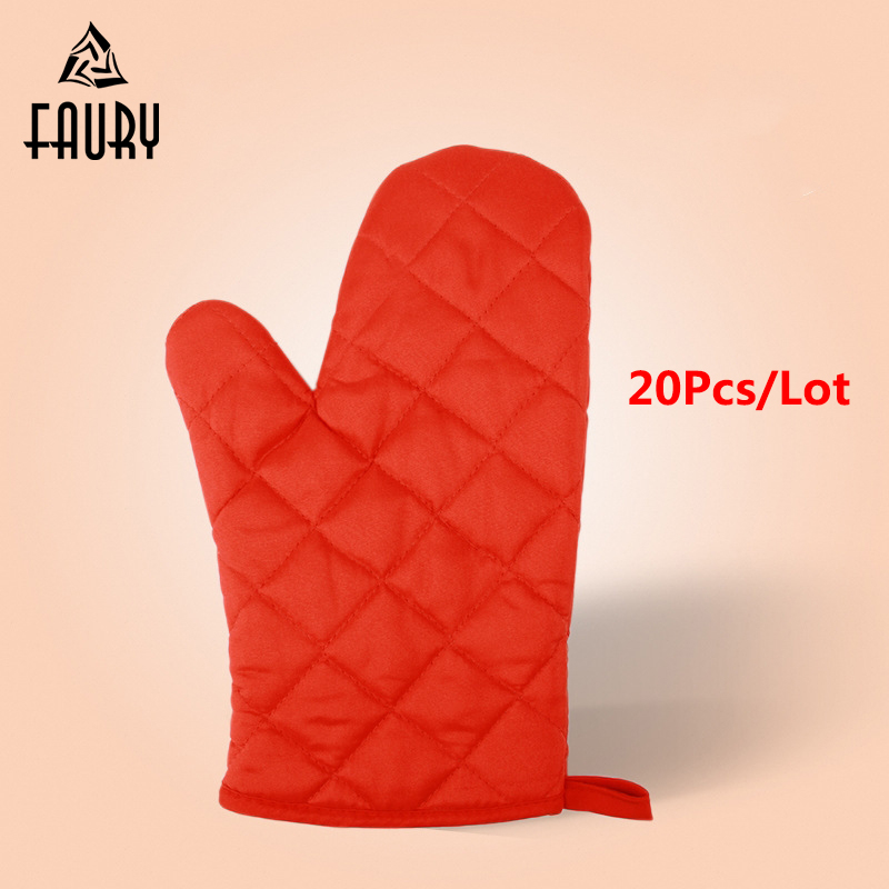20Pc/Lot Restaurant Kitchen Bakery Cake Shop Oven Microwave Protection High Temperature Baking Gloves Adiabatic Gloves 17.8*27cm
