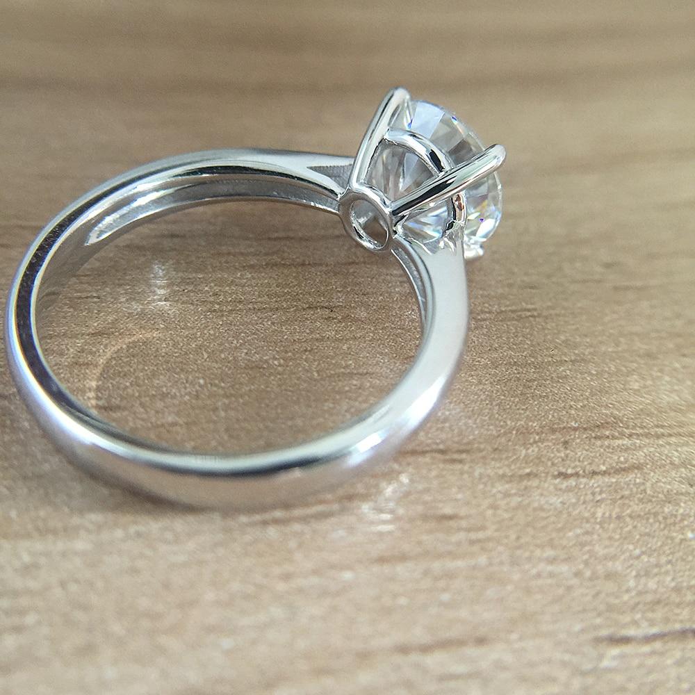 البلاتين مطلي مطلي الفضة DF 1.0ct 6.5 مللي متر جولة قطع DF المويسانتي خاتم الخطوبة خاتم للذكرى المويسانتي الدائري للنساء-في خواتم من الإكسسوارات والجواهر على  مجموعة 2