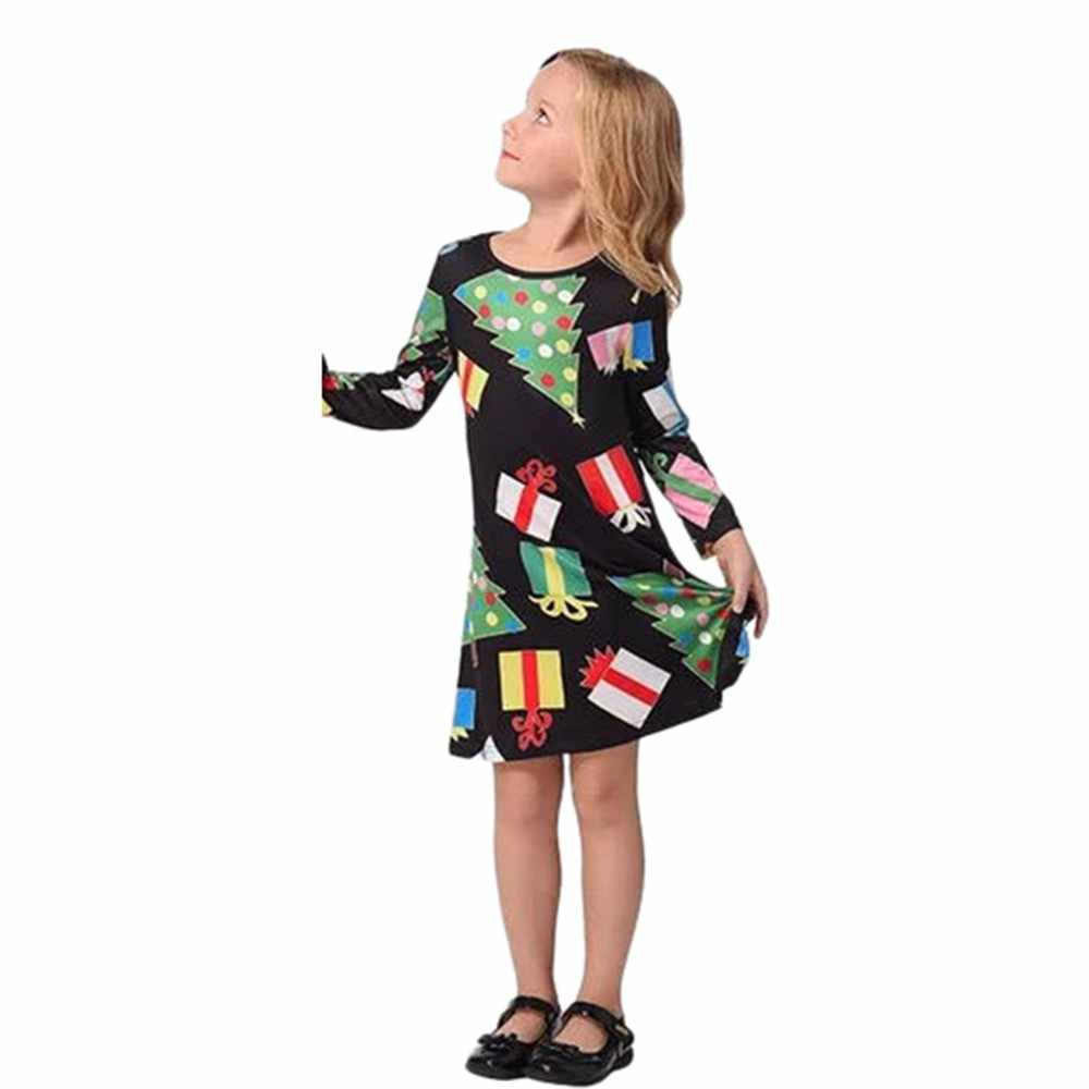 bef61063362c3 ... MUQGEW Family Clothes mother and me daughter Christmas Infants Children  Kids Girls Dot Tree Print Dress ...