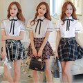 New Hot Sale High College Plaid School Uniform Sailor Uniform Japan Korea British Style Student Uniform Free Shipping