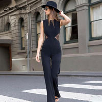 2017 Zomer nieuwe vrouwen jumpsuits mouwloze o hals sexy jumpsuits boot cut print lace celebrity party zwarte jumpsuit vestidos
