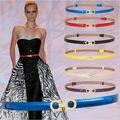 Mais novo Frete Grátis cintura ajustável belt HOT PU luxo Faux cintos de Couro fivela de ouro mulheres cinta fina ajustar beleza decorar
