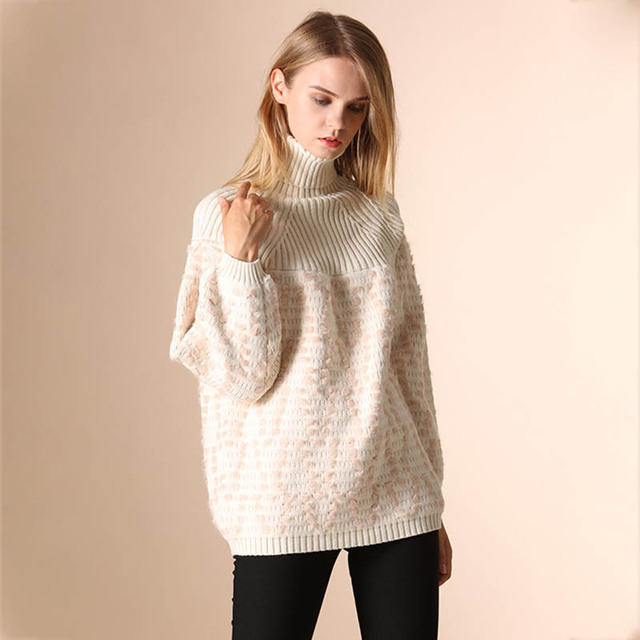 2017 Pullovers Sweaters Womens Turtleneck Knit Autumn Winter Fall Fashion  Oversize Poncho Sweater Girls Knitted Cute