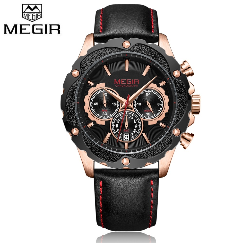 Humor Megir Casual Uhren Männer Luxusmarke Quarz Militär Sportuhr Echtes Leder Herren Chronograph Armbanduhr Relogio Masculino Preisnachlass