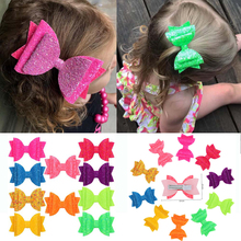 Oaoleer Hair Accessories 3 Inches Glitter Bows Hairbows for Girls Summer Shiny Hairpins Dance Party Kids Swallow Tail Clips