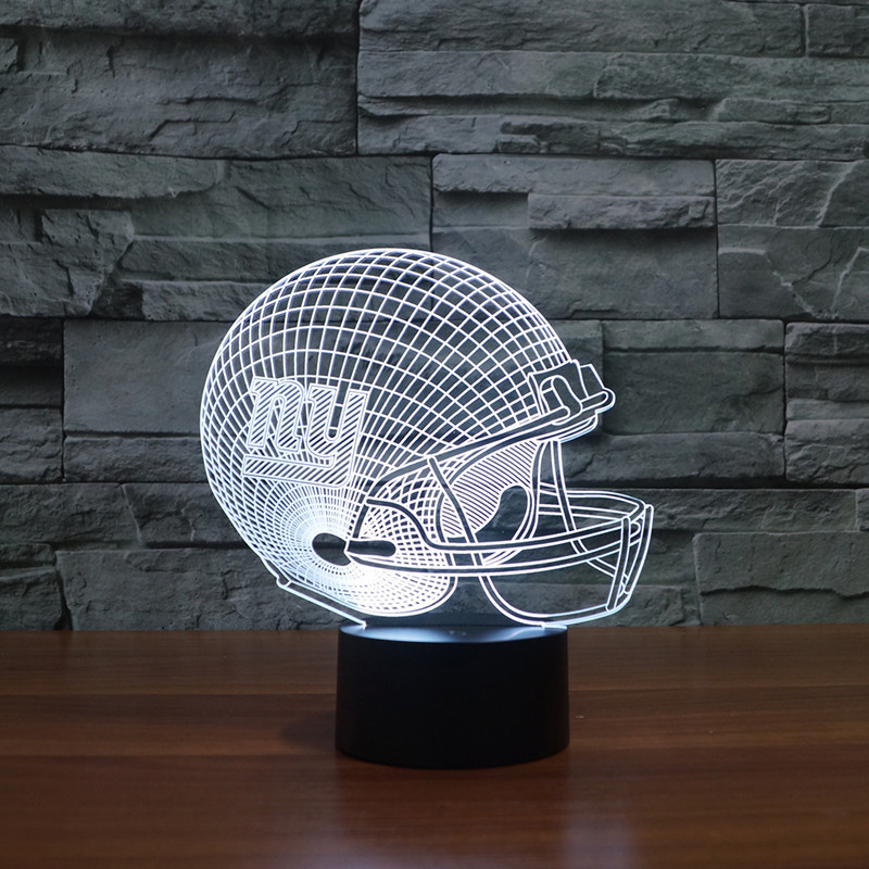 2017 The New York giants football logo 3D LED light football helmet colorful touch LED lamp creative gifts USB boxed