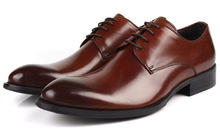 Brown tan / Black / brown dress shoes mens casual business shoes genuine leather office shoes pointed toe oxfords shoes