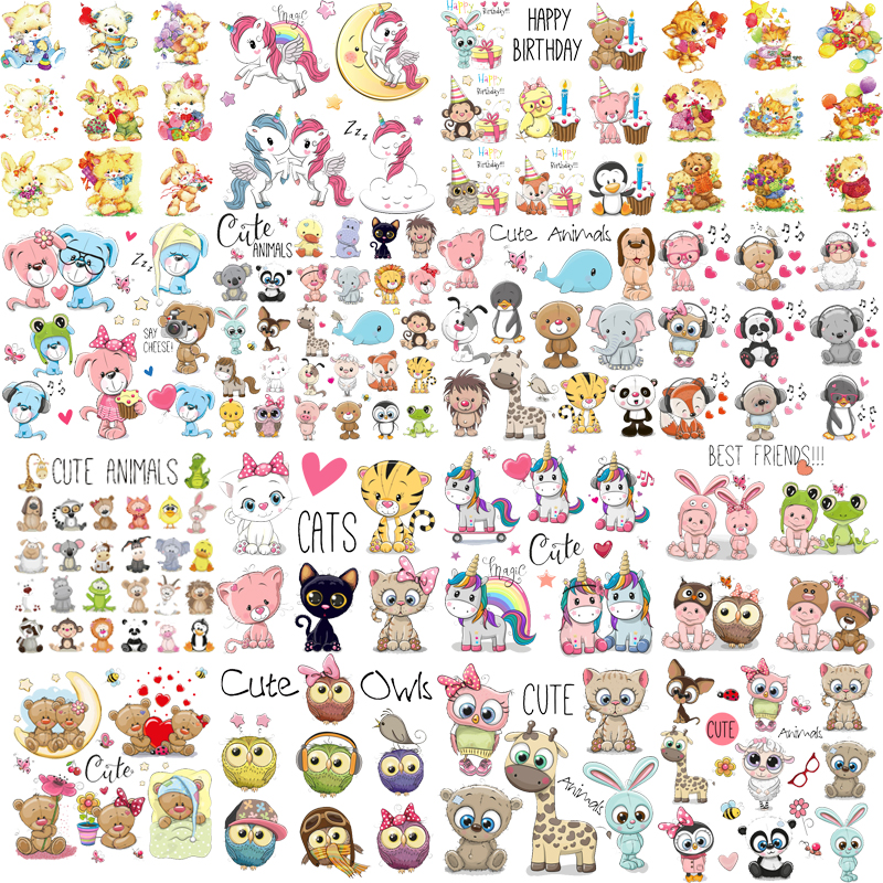 Iron on Cute Animal Patches Set for Kids Clothing DIY T-shirt Applique Heat Transfer Vinyl Unicorn Patch Stickers Thermal Press