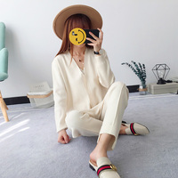 Hot Sale 2018 new sweater suit Korean fashion tracksuits knitting cardigan + casual pants two suit