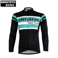 MERSTEYO Pro Hommes Vélo jersey À Manches Longues Cycling Team vêtements noir Ciel Bleu Mâle Équitation Top VTT Usure Ropa Ciclismo chemises