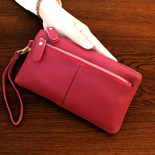 KANDRA 2019 New Womens Clutch Genuine Leather Wallet Travel Phone Wristlet Purse Zippered Small Bag Makeup Pouch Wholesale