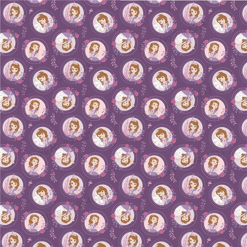 10 шт./лот искусственная мультфильм печатных принцесса Синтетическая кожа ткань Vinly для волос лук сумки 20*34 см PPUL18