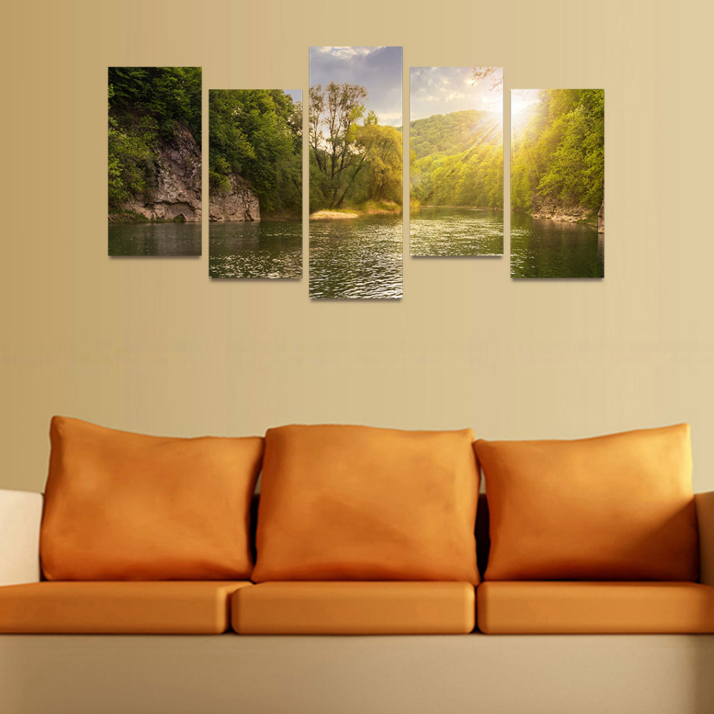 5 Panels Canvas Print Sunshine Lake And Green Trees Painting On ...