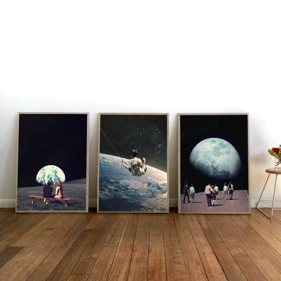 Night Sky Art Prints Earth Canvas Posters Surrealism Galaxy Space Moon Canvas Painting Swing Cosmic Wall Pictures Sci-Fi Decor