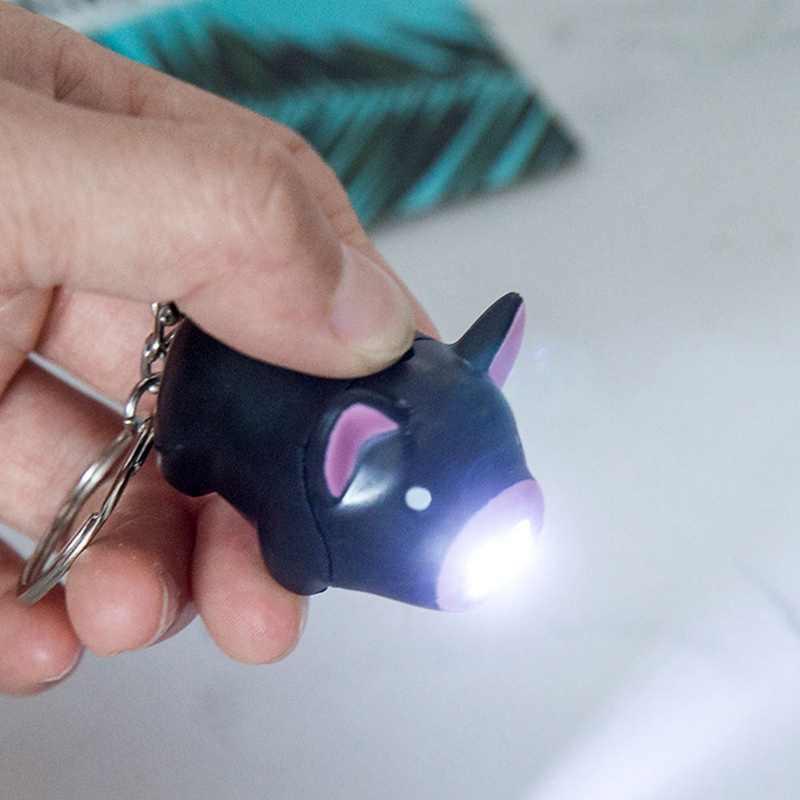 Porco bonito Led Chaveiro Som Lanterna Chave Anéis Chaveiros Luz Criativa Dos Desenhos Animados Acessórios Interiores Do Carro