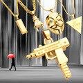 2017 Новый Панк Маска Разъем Верховный Золото Серебро Металл Пистолет Hatet макси Пистолет Ожерелье & Подвески Хип-Хоп Ювелирные Изделия для Мужчин Женщин