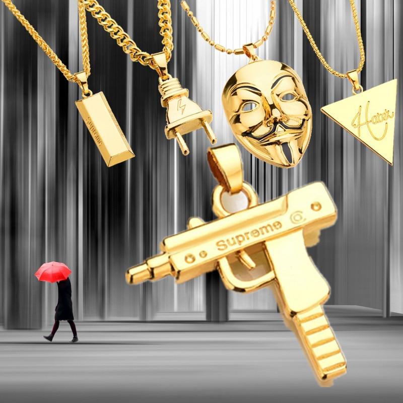 2017 New Punk Mask Plug Supreme Gold Silver Metal Submachine Hatet Maxi Pistol font b Necklace