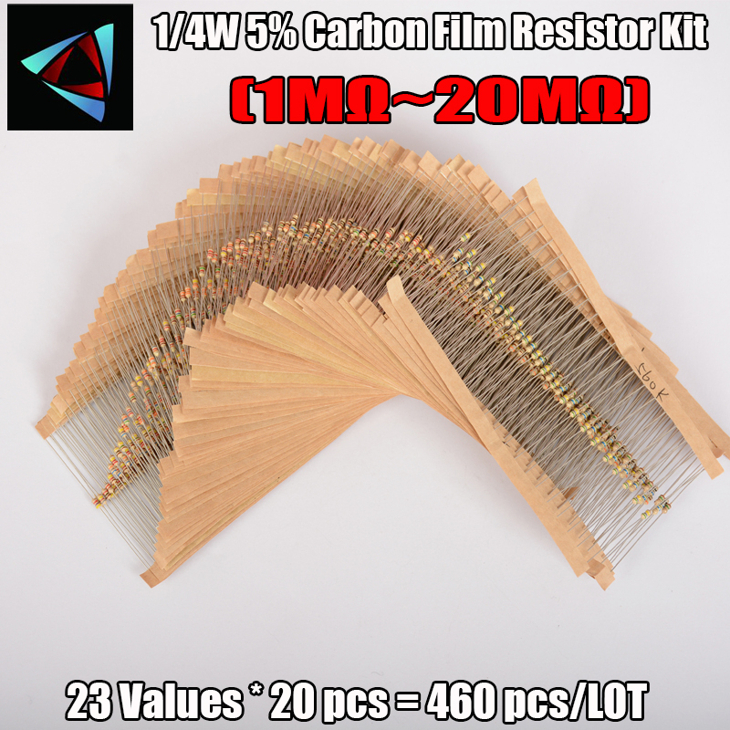 460pcs 1/4W 5% 23Values (<font><b>1Mohm</b></font>~ 20M ohm) Resistance Power Carbon Film <font><b>Resistors</b></font> Assorted kit Tolerance <font><b>Resistor</b></font> Pack image