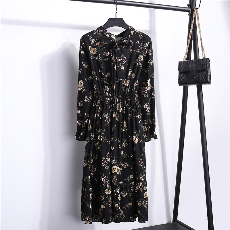 Summer Korean Chiffon Women Dress Elegant Ladies Vintage Long Dress Boho Floral Office Long Sleeve Vestidos Clothing 5LYQ003 46