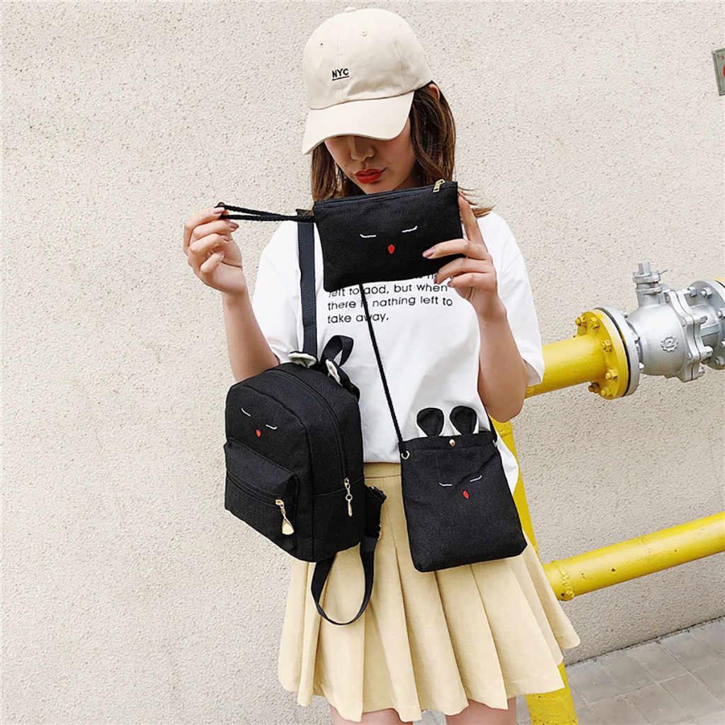 2019 USB Charging Canvas Backpack 3 Pcs/set Women School Backpacks Schoolbag For Teenagers Man Student Book Bag Boys Satchel 7J3