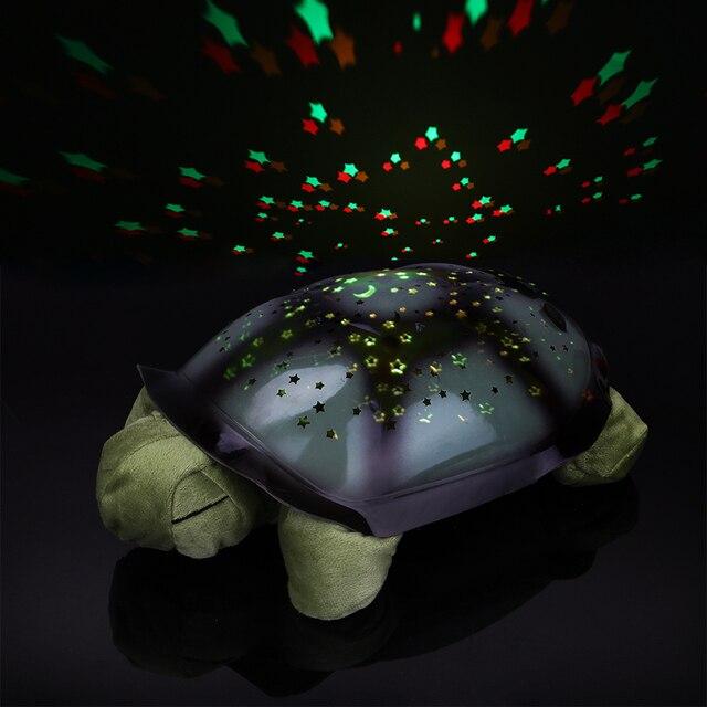 Coquimbo Sleeping Turtle Nursery Night Light With Baby Music USB Powered Plush Nightlight Projector Star Bedroom Night Lamp
