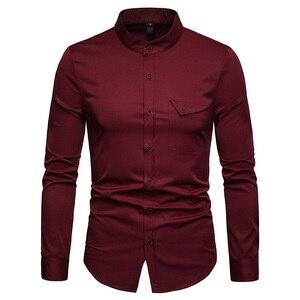 Image 3 - สีขาว Mandarin COLLAR เสื้อผู้ชาย 2019 ฤดูใบไม้ผลิใหม่ Slim ยาว Henley เสื้อ Mens ธุรกิจชุดลำลองเสื้อ Homme