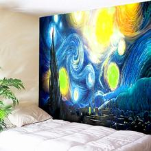 купить Galaxy Wall Tapestry Bohemian Mandala Tapestry Van Gogh Painting Print Starry Night Sky Wall Carpets Hanging Camping Tent Travel по цене 455.27 рублей