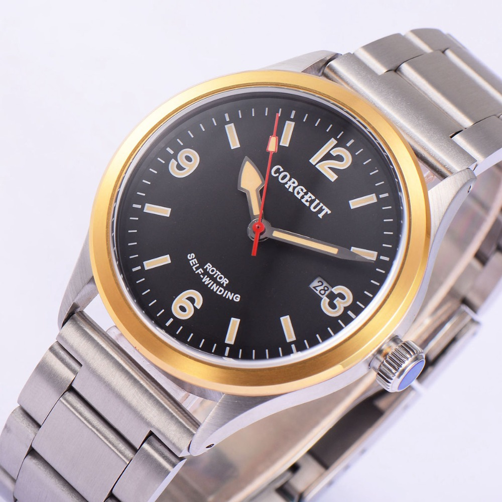 41mm Corgeut stainless steel Case Black Dial Date 20ATM Japan Miyota 8215 Automatic Mens water resistant wristwatches