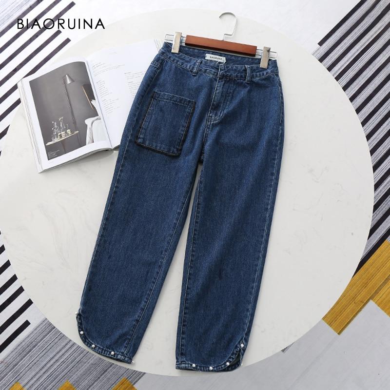 BIAORUINA Women Vintage Blue Loose Straight Ankle-Length Denim   Jeans   Female High Waist Streetwear   Jeans   Beading Decoration