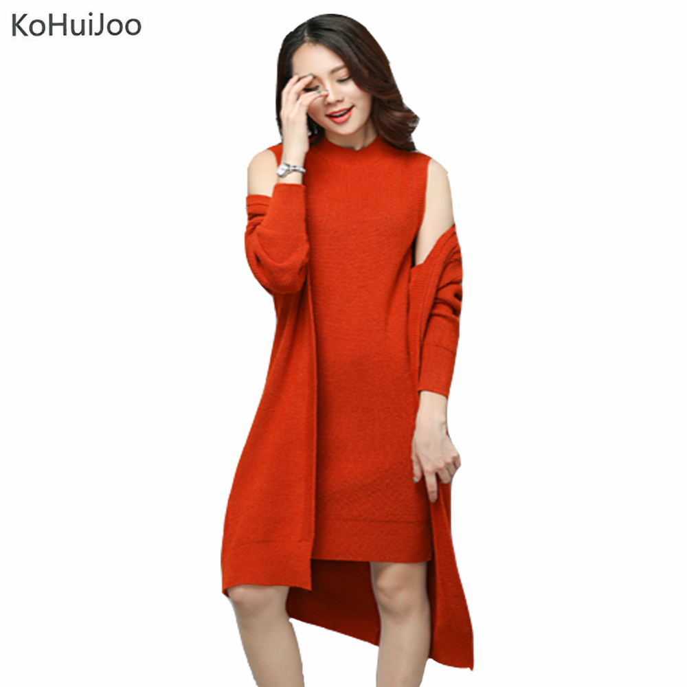 Korean Fashion Autumn Knitted Dress Suit Women Knee Length Casual Sleeveless Tank Dress+Cardigan Lady Two Piece Dress Sets