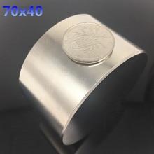 Freies verschiffen 1 stücke 70mm x 40mm neodym-magnet 70*40mm Runde Zylinder Permanentmagneten 70*40 NEUE 70x40mm Kunst Handwerk Verbindung