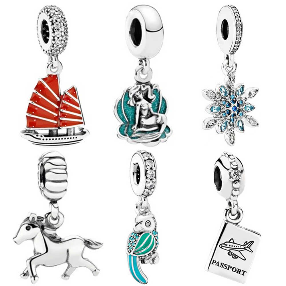 New Original Sliver Bird Horse Ferry Snowflake Passport Mermaid Bead Charm Fit Pandora Bracelet Necklace DIY Women Jewelry