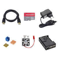 Raspberry Pi 3 Model B+ Accessories Kit Power Adapter+ABS Case+16G SD Card+Heatsink+Cooling Fan+HDMI Cable for Raspberry Pi 3/2