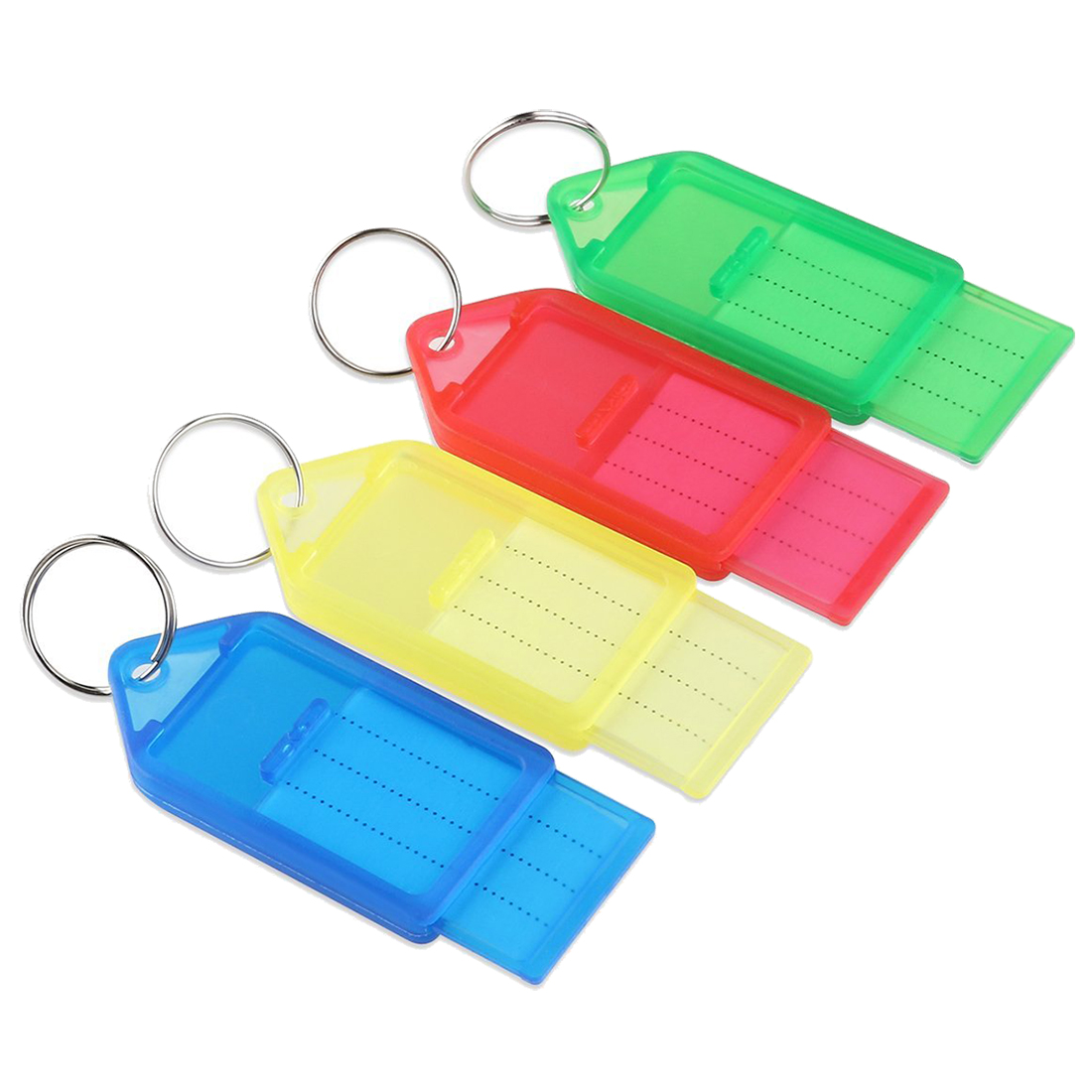 WCS 60pcs plastic Slideable Key Fobs Luggage Tags with Key Rings Random Color