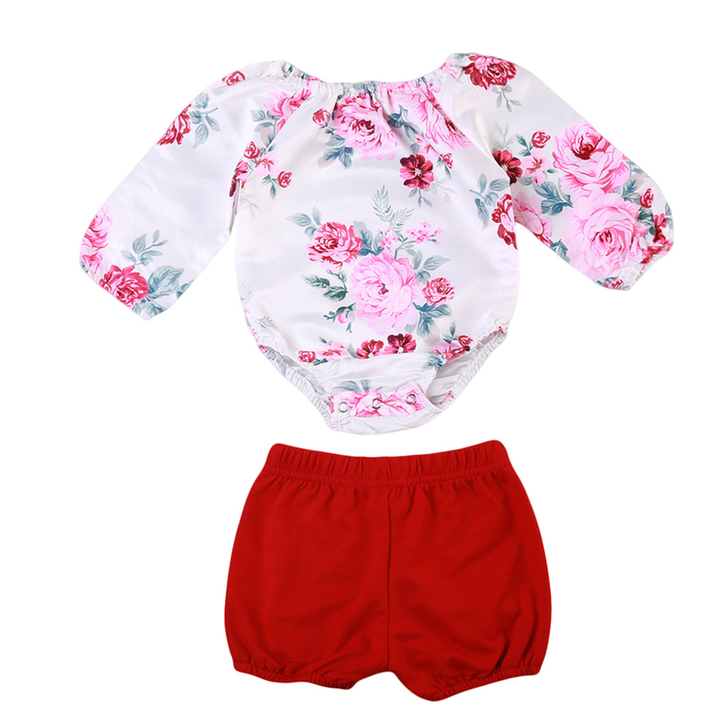 Baby Girl Floral Romper+Shorts Pants 2Pcs Newborn Baby Girl Clothes Cute Jumpsuit Pants Sunsuit 2017 New Fall Bebes Clothing Set