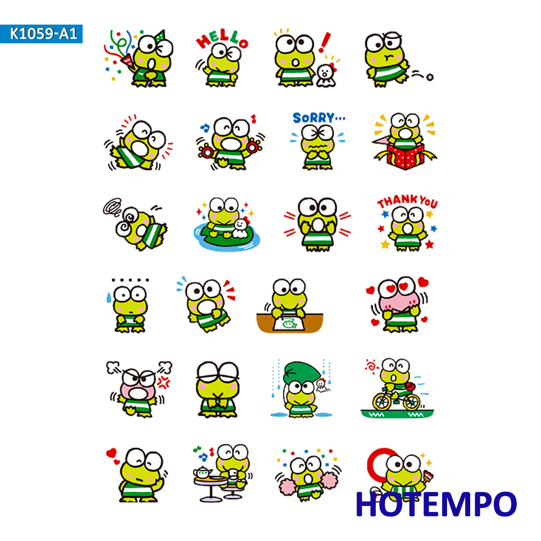 Cartoon Kerokero Keroppi Sanrio Stickers For Girl Children Kids Gift DIY Letter Diary Scrapbooking Stationery Pegatinas Stickers
