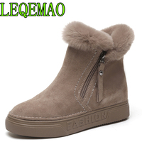 Women's Winter Ankle Boots Female Zipper Flock Platform Snow Boot Ladies Plush Sneakers Casual Flat Shoes Woman Footwear