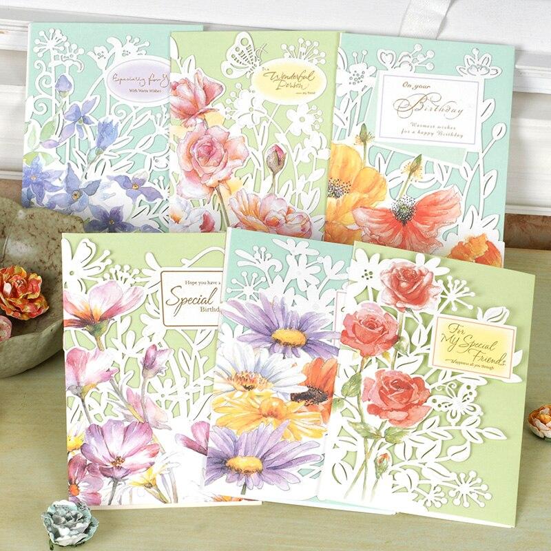 Beautiful Flower Laser Cut Birthday Card For Friendfunny Tri Fold Greeting Gift