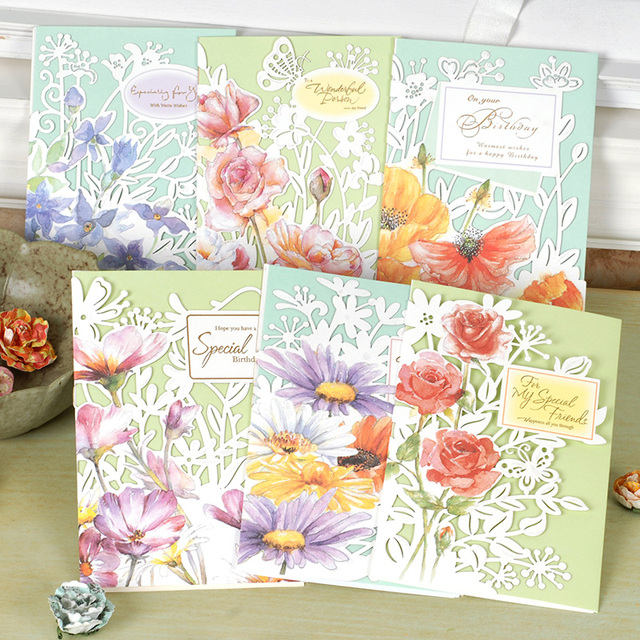 Beautiful Flower Laser Cut Birthday Card For Friendfunny Tri Fold Greeting Gift