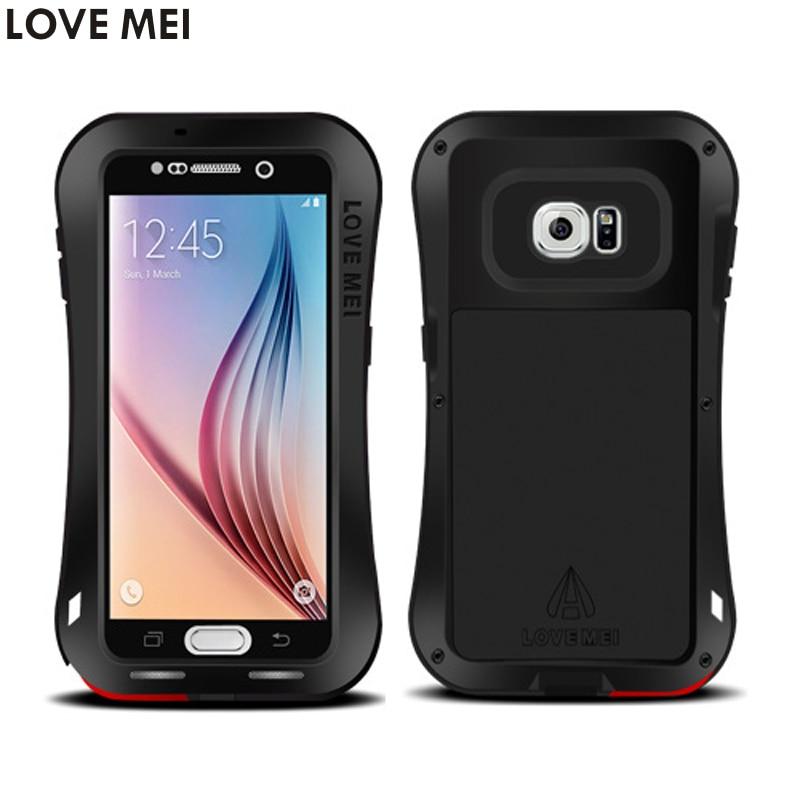 bilder für Für Samsung Galaxy S6 Abdeckung G9200 G920f Wasserdicht Stoßfest Fall LIEBE MEI Leistungsstarke Gorilla Gehärtetem Glas Fest Metallabdeckung