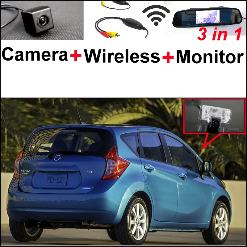 3 in1 Special Camera + Wireless Receiver + Mirror Monitor Easy DIY Back Up Parking System For Nissan Versa Note 2013~2015 wireless pager system 433 92mhz wireless restaurant table buzzer with monitor and watch receiver 3 display 42 call button